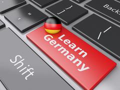3d learn germany on computer keyboard. education concept - stock illustration