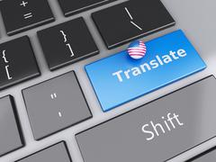 3d english translation button on computer keyboard. translating concept. Stock Illustration
