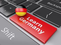 3d learn germany on computer keyboard. education concept Stock Illustration