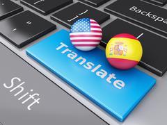 3d translation button on computer keyboard. translating concept. - stock illustration