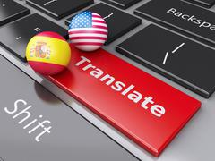 3d translation button on computer keyboard. translating concept. - stock illustration