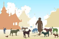 temple dog woman - stock illustration