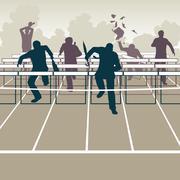 Businessmen hurdles Piirros