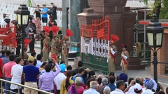 Guards at the Indian - Pakistani border during the border closing ceremony Stock Footage