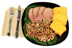 served american south tradition new years day meal - stock photo