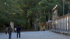 Path to Torii Gate at Ise Grand Shrine (Ise Jingu) in Japan Stock Footage