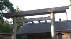 Torii Gate at Ise Grand Shrine (Ise Jingu) in Japan Stock Footage