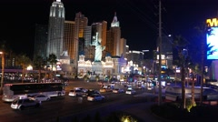 4K Las Vegas Night Strip Lights New York Hotel Casino Stock Footage