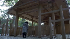 Worshipper at Ise Grand Shrine (Ise Jingu) in Japan Stock Footage
