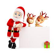 Santa and reindeer is presenting merry Christmas - stock illustration