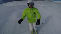 Skier with helmet camera Stock Footage