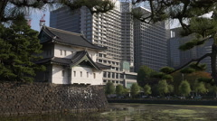 Imperial Palace and Modern Buildings in Tokyo, Japan Stock Footage
