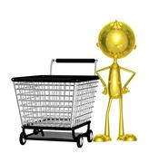 golden character with trolley - stock illustration
