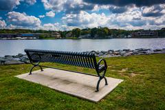 Stock Photo of bench along the shore of the north east river in north east, maryland.