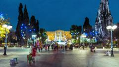 4K timelapse Syntagma sq Athens Christmas holidays festivities Stock Footage