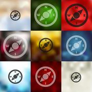 Stock Illustration of compass icon on blurred background