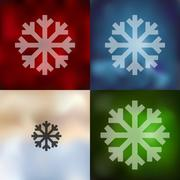 snowflake icon on blurred background - stock illustration