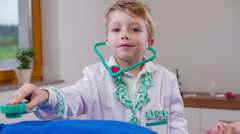 Fresh genius doctor using stethoscope Stock Footage