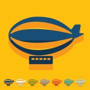 Flat design: airship - stock illustration