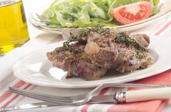Grilled lamb chops with thyme Stock Photos