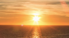 Sunset over Ocean Orange Sun Beautiful Sea Water Waves Timelapse Stock Footage