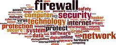 firewall word cloud - stock illustration