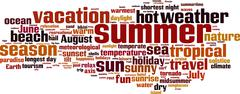 summer word cloud - stock illustration