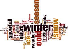 winter word cloud - stock illustration