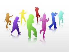 Dancing children silhouettes Stock Illustration