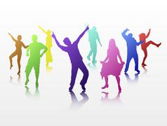 dancing people - stock illustration
