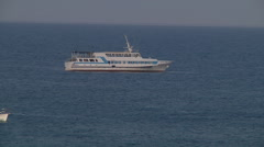 Wide Shot of ferry at Swallow's Nest (Gaspra) in Crimea, Ukraine. Stock Footage