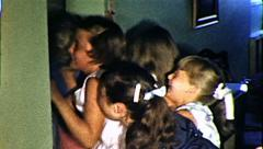 Girls Push And Shove Crowd Children Bullying Vintage Retro Film Home Movie 8112 Stock Footage