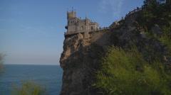 Wide Shot of Swallow's Nest at Gaspra in Crimea, Ukraine. - stock footage