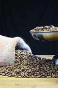 coffee with scale and coffee beans. - stock photo