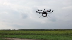 Test flight of a camera aerial drone Stock Footage