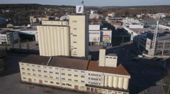 Drone Aerial view of Old granary at Salo Finland Stock Footage