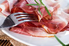 portion of sliced ham - stock photo