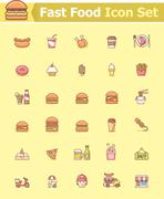 Fast food icon set Stock Illustration