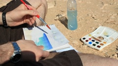 Watercolor Picture painting Fuerte Ventura Stock Footage