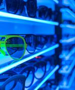 sunglasses on shelf - stock photo