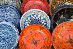 tunisian plates - stock photo