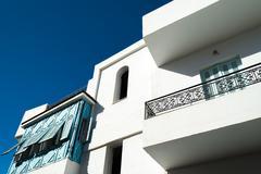 White & blue tunisian home Stock Photos