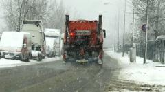 German winter service, heavy snowfall Stock Footage