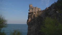 Wide Shot of Swallow's Nest at Gaspra in Crimea, Ukraine. Stock Footage