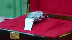 """Wristwatches brand """"Rocket"""" at the Museum of the old watch factory Stock Footage"""