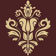 Stock Illustration of Damask Vector Pattern. Golden Ornament