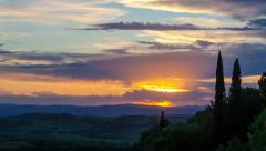 Timelapse Sunset in Pienza - Tuscany, Italy Stock Footage