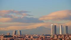 Skyscrapers In Madrid, Timelapse Stock Footage