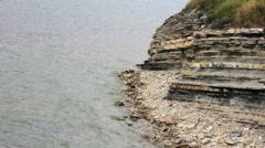 Sedimentary rocks coast Stock Footage