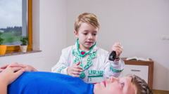 Stock Video Footage of Young doctor check patient eyesight in slow motion